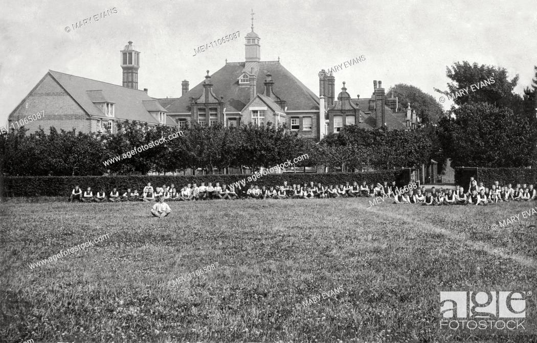 Stock Photo: Boys at the Fyfield Truant Industrial School, near Ongar, Essex, run by the West Ham School Board.