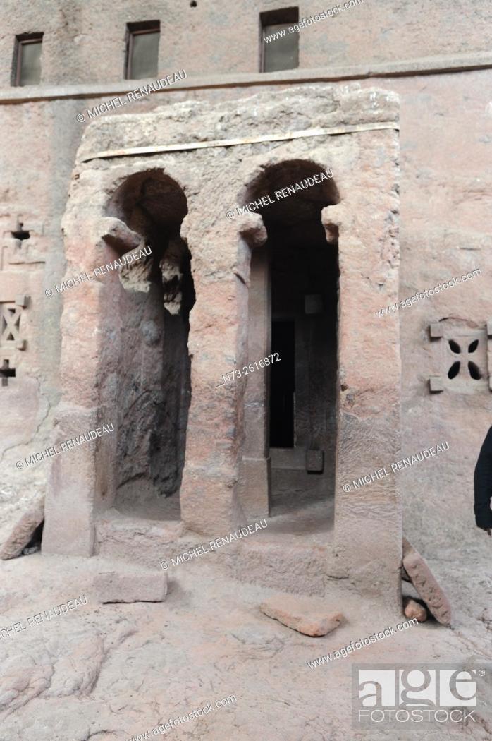 Stock Photo: Ethiopia, Amhara region, the holy city of Lalibela, the northern cave church.