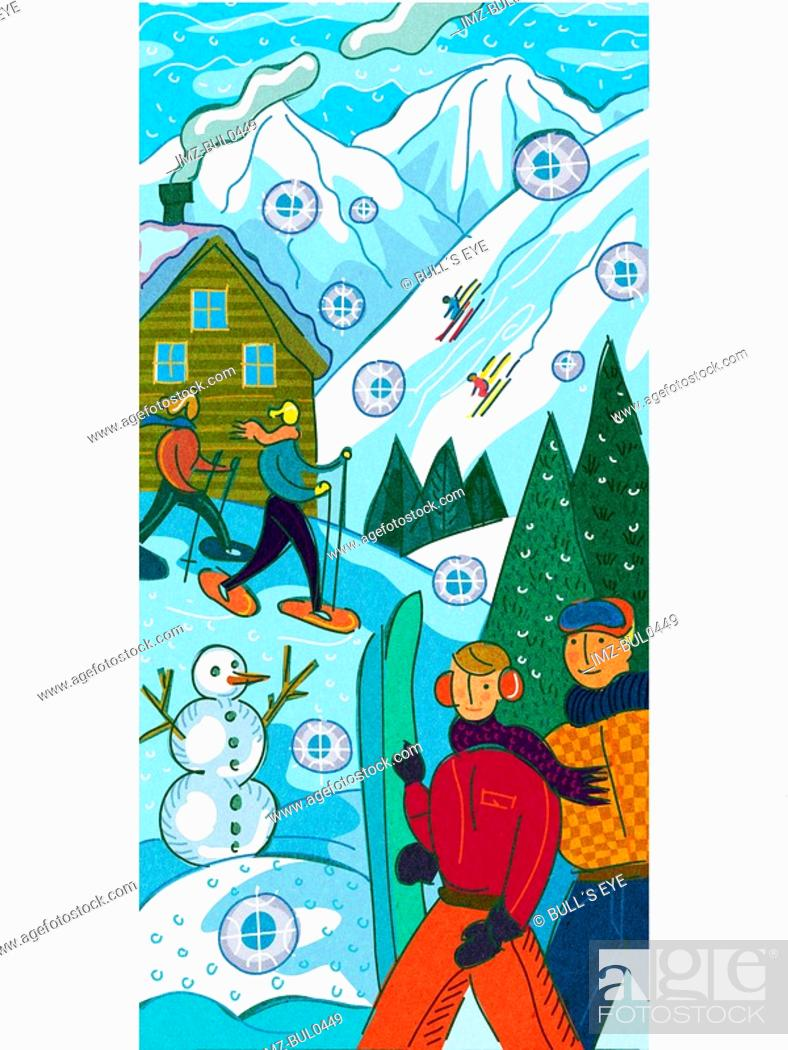 Stock Photo: People at a ski resort skiing,snowboarding and snow shoeing.