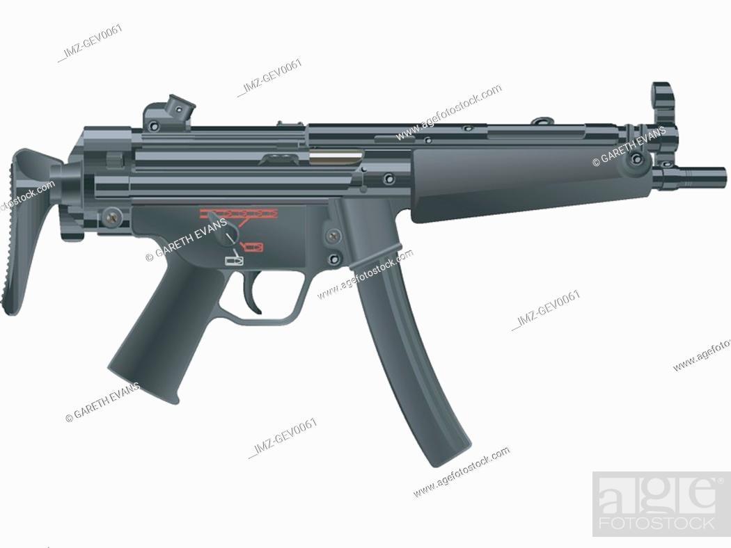 Stock Photo: A picture of a submachine MP-5a5 gun.