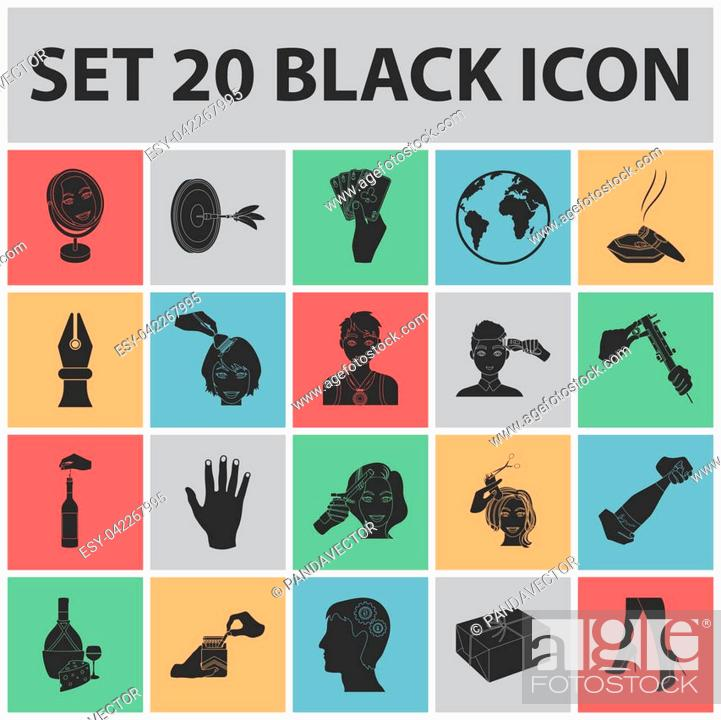 Stock Photo: Manipulation by hands black icons in set collection for design. Hand movement bitmap symbol stock illustration.
