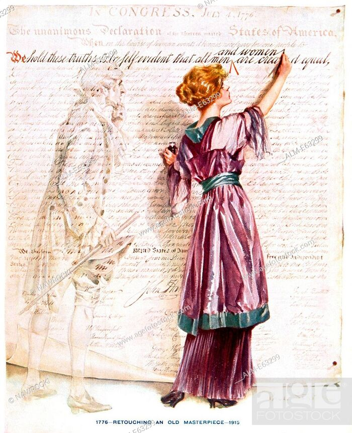 Stock Photo: 1900s 1915 WOMAN SUFFRAGETTE WRITING IN 'AND WOMEN' INTO DECLARATION INDEPENDENCE STANDING NEXT TO 1776 THOMAS JEFFERSON.
