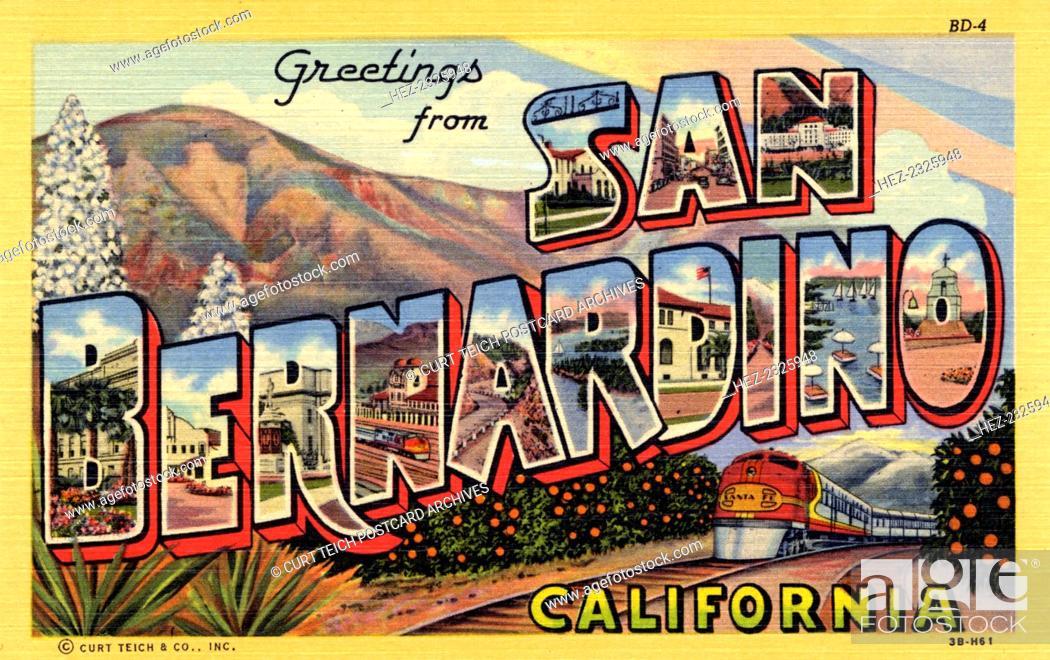 Greetings from san bernardino california postcard 1943 stock stock photo greetings from san bernardino california postcard 1943 large letter postcard of san bernardino with views of the city in each letter m4hsunfo