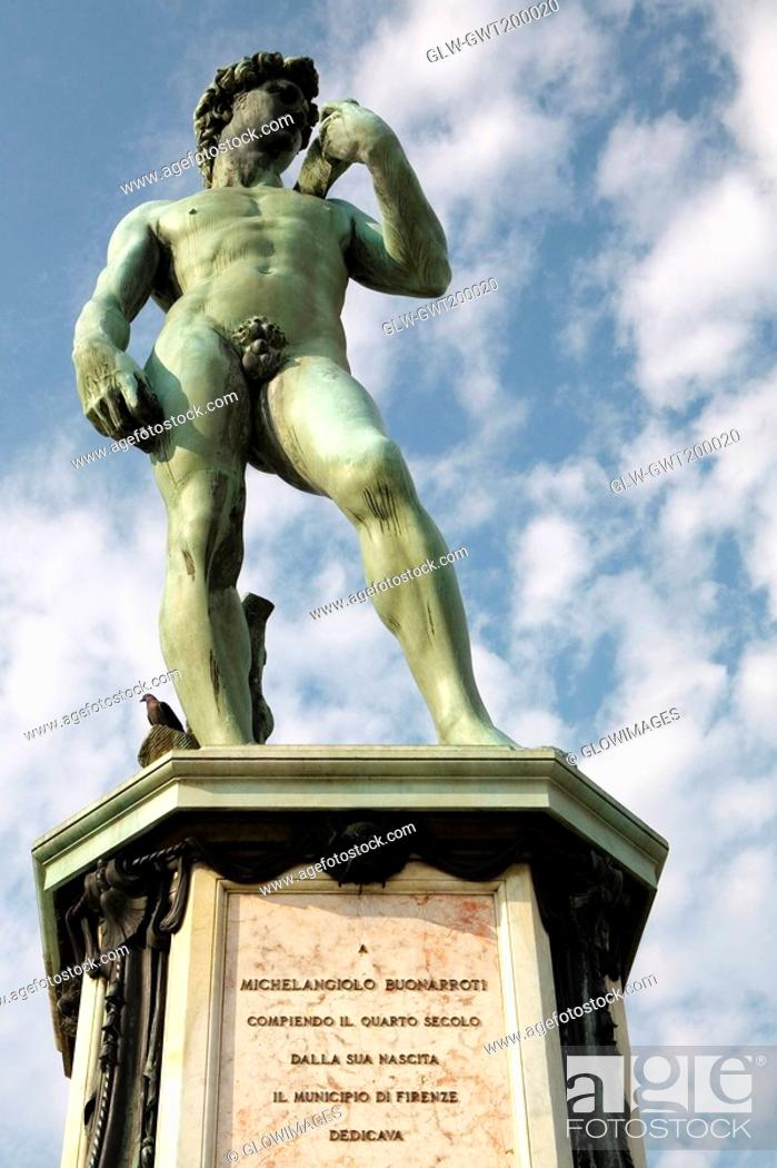 Stock Photo: Low angle view of a statue, Michelangelo's David, Piazzale Michelangelo, Florence, Tuscany, Italy.