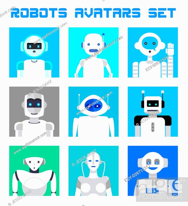 Stock Vector: Varied set of robots faces and heads for used as characters avatars. Imaginative and friendly colourful collection of happy andorids to give a fresh and.