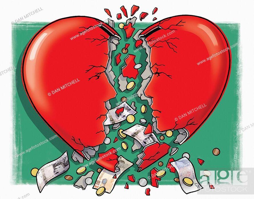 Imagen: Money falling out of broken heart money box.
