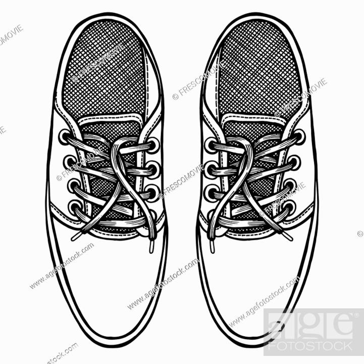 Stock Vector: Vector Sketch Illustration, Pair of Skaters Shoes. Top View.