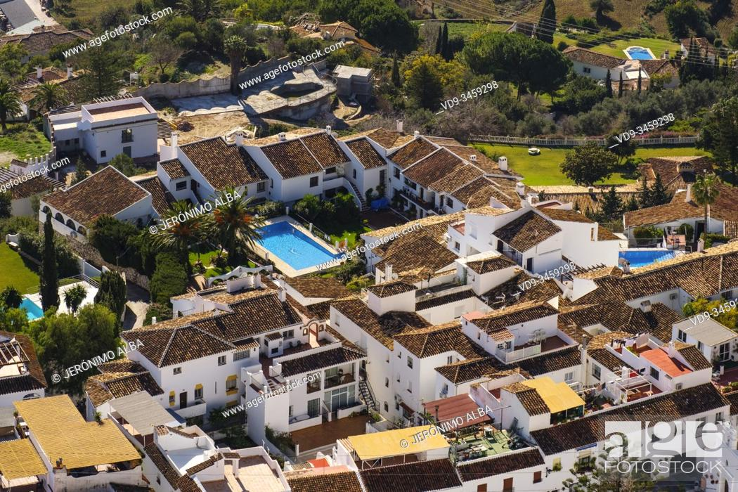 Stock Photo: Panoramic view, residential housing complex with pool, white village of Mijas. Costa del Sol, Malaga province, southern Andalusia. Spain Europe.
