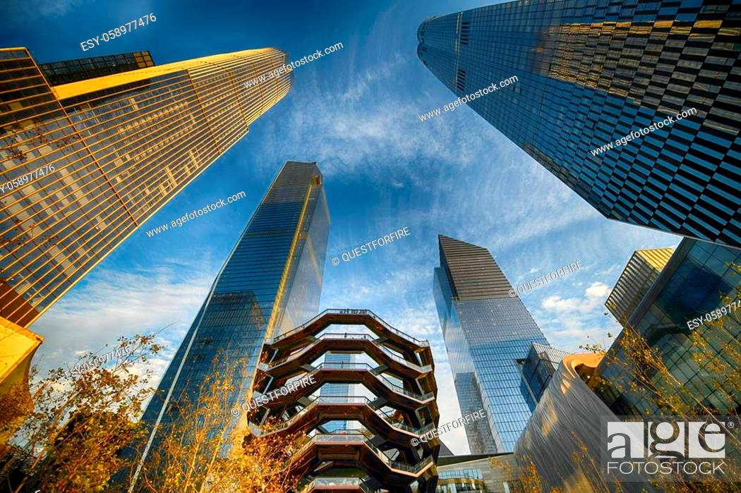 Stock Photo: Hudson Yards is a 28-acre real estate development in the Chelsea and Hudson Yards neighborhoods of Manhattan, New York City.