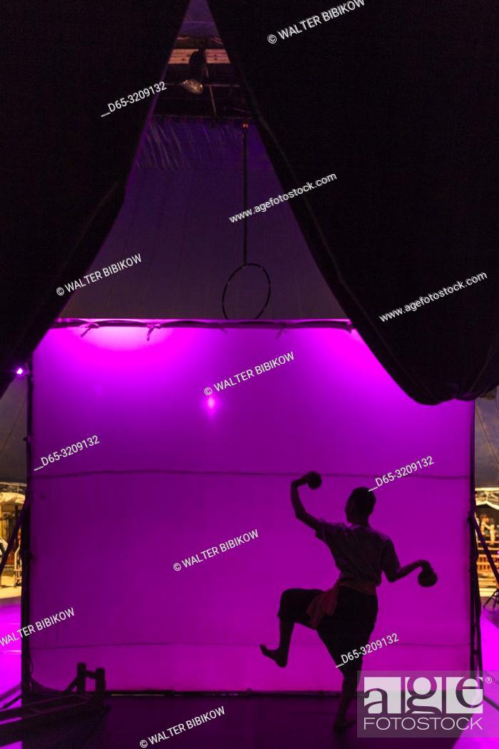 Stock Photo: Cambodia, Battambang, Phar Ponleu Selpak, arts and circus school, silhouettes of traditional Khmer dancers, ER.