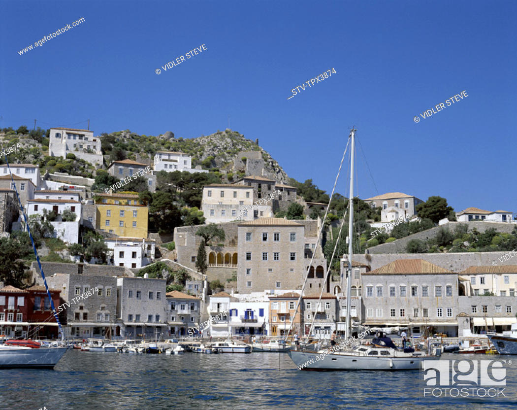 Stock Photo: Argo, Greece, Europe, Harbour, Holiday, Hydra, Islands, Landmark, Saronic, Tourism, Town, Travel, Vacation, View, Ydra,.