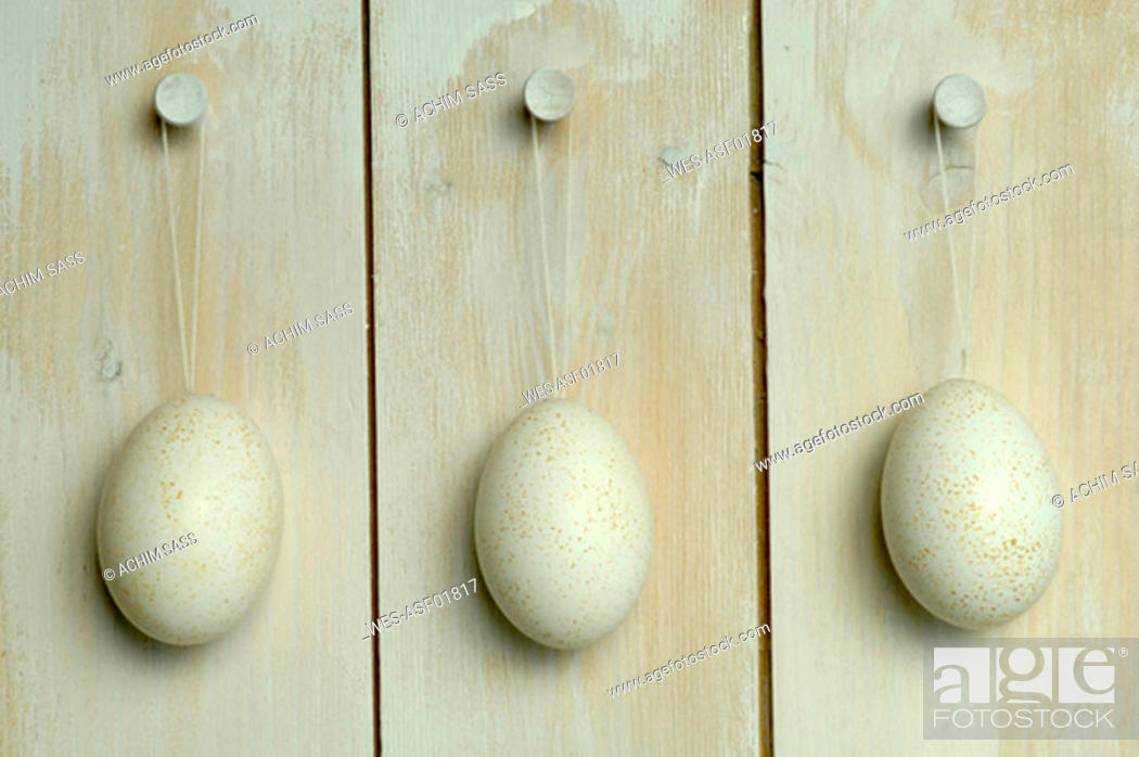Stock Photo: Easter eggs hanging from wall.