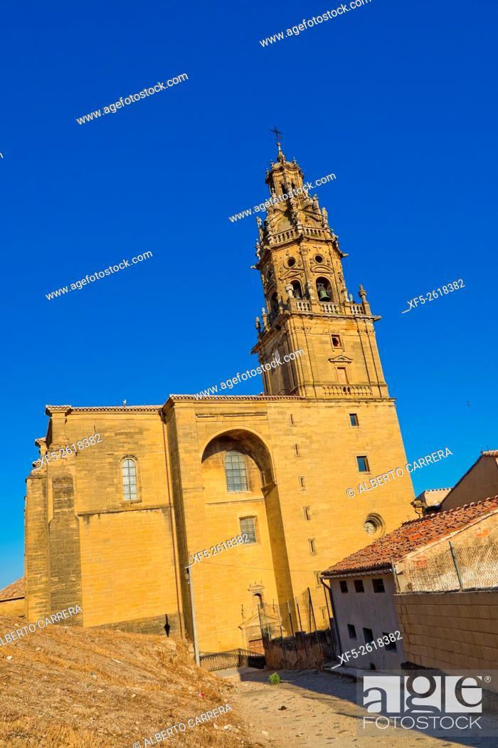Stock Photo: Parish Church of Santo Tomás Apostol, Baroque Tower, Plateresque Main Entrance, Gothic Style, S. XVI-S. XVIII, Spanish Property of Cultural Interest, Haro.