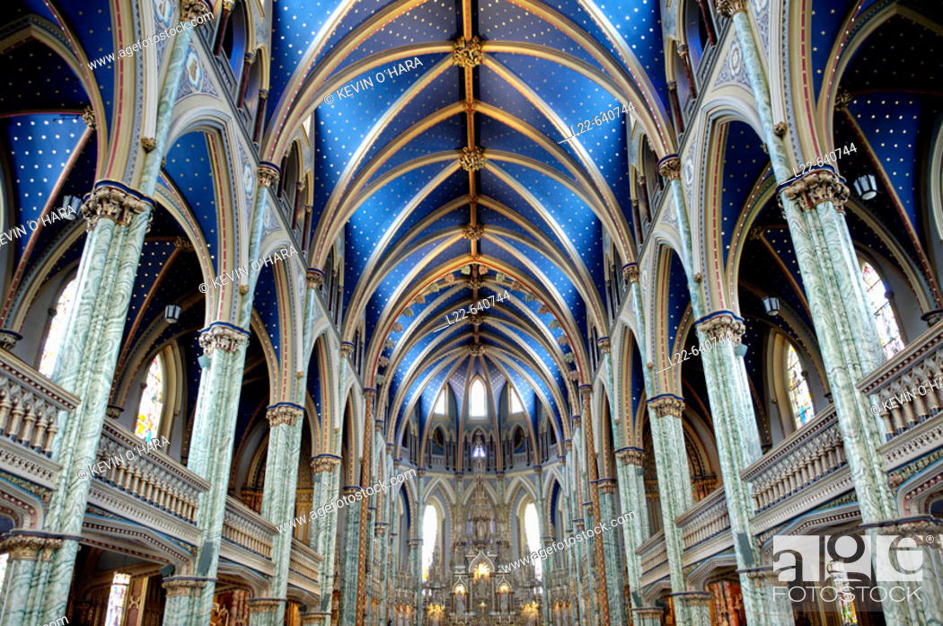 Stock Photo: Cathedral and Basilica of Notre Dame (1839-1885). It stands on the site that was occupied by the first Catholic chapel. City of Ottawa (federal capital).