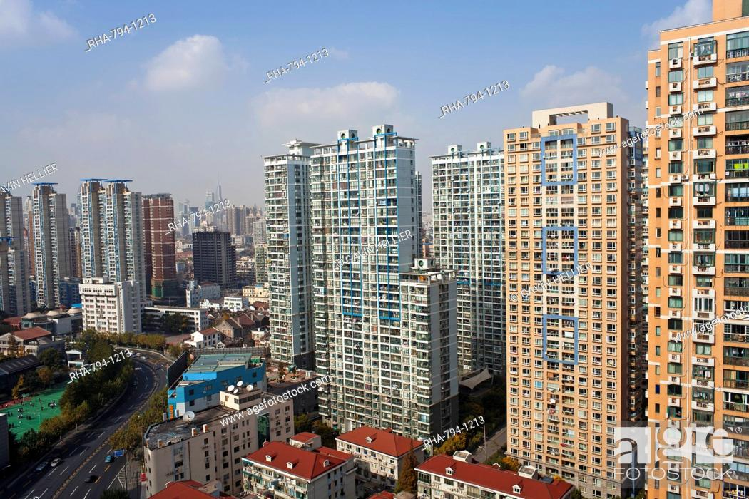 Stock Photo: Apartment buildings in Central Shanghai, Shanghai, China, Asia.