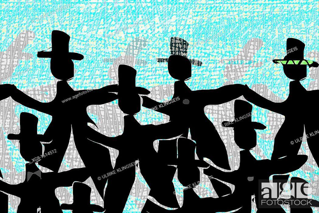 Stock Photo: background design, dancing men in black.