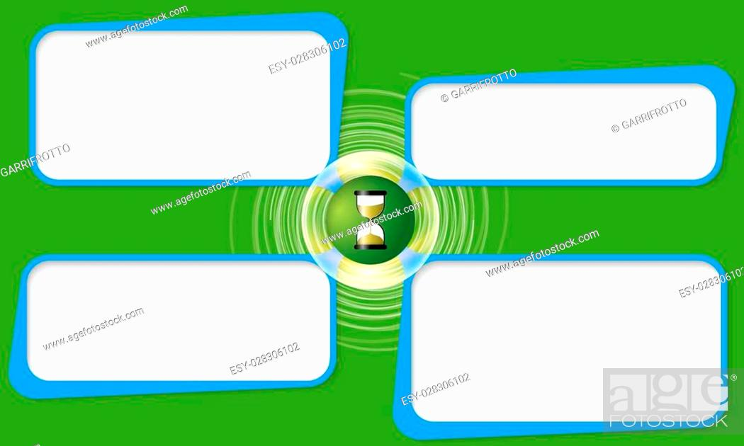 Stock Vector: Four connected frames for your text and sand glass.