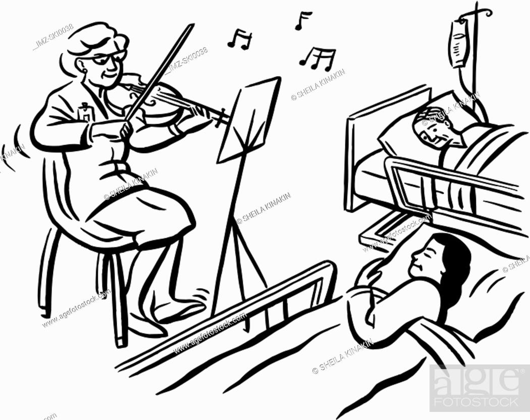 Stock Photo: Patients being treated with music therapy.