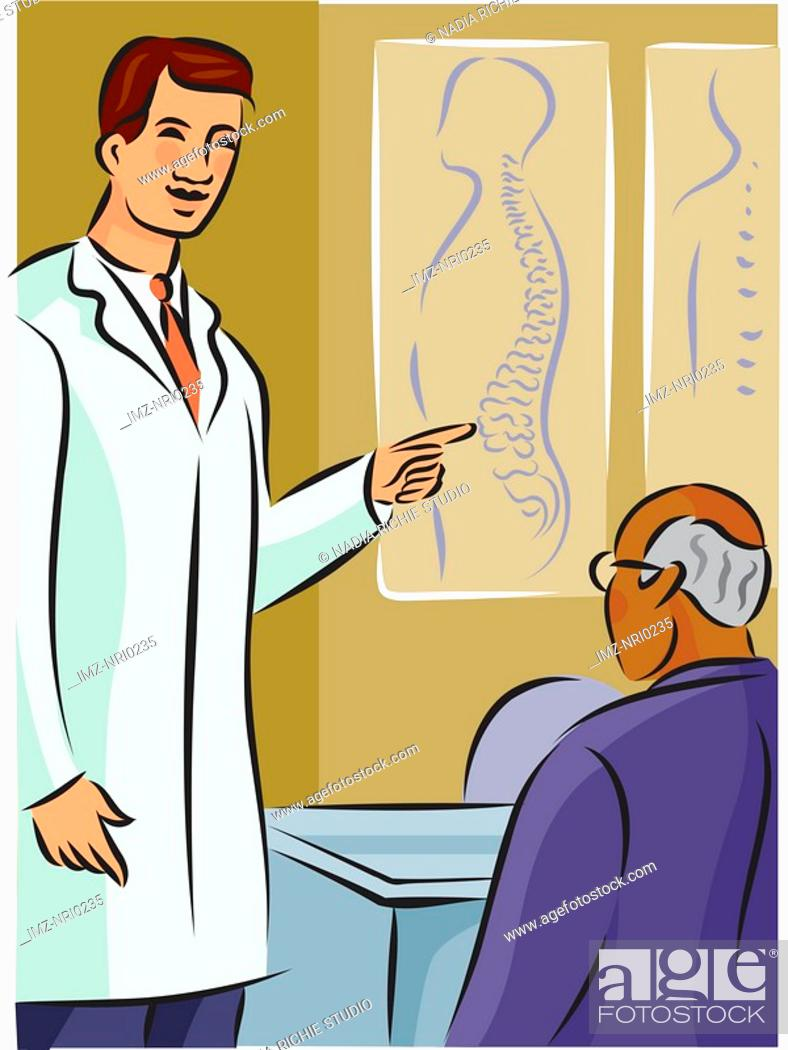 Stock Photo: Doctor showing his patient a diagram of the spine.