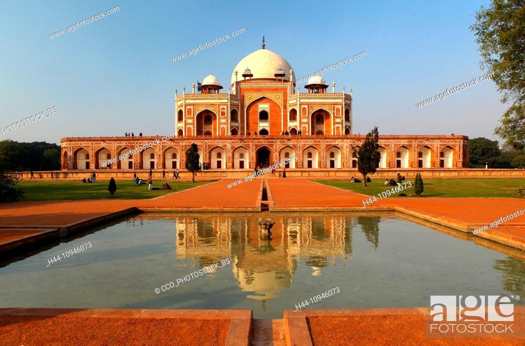 Stock Photo: Humayun, mausoleum, New Delhi, Humayun, Tomb, false dome, dome, architecture, tourist, place of interest, afternoon, sundown, sunset, basin, water washbasin.