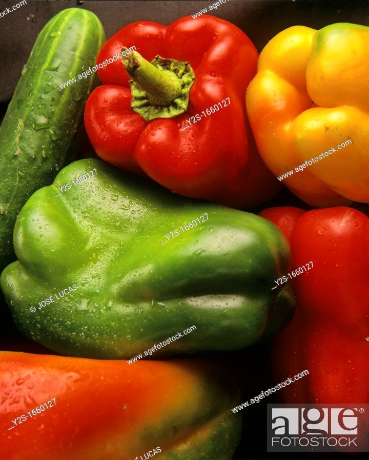Stock Photo: Peppers and cucumbers, Andalusia, Spain,.