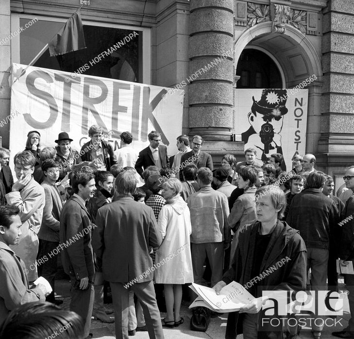 Stock Photo: Students of the Technical University Berlin boycott their lectures because of the planned Emergency Laws on 15 May 1968. On that day.