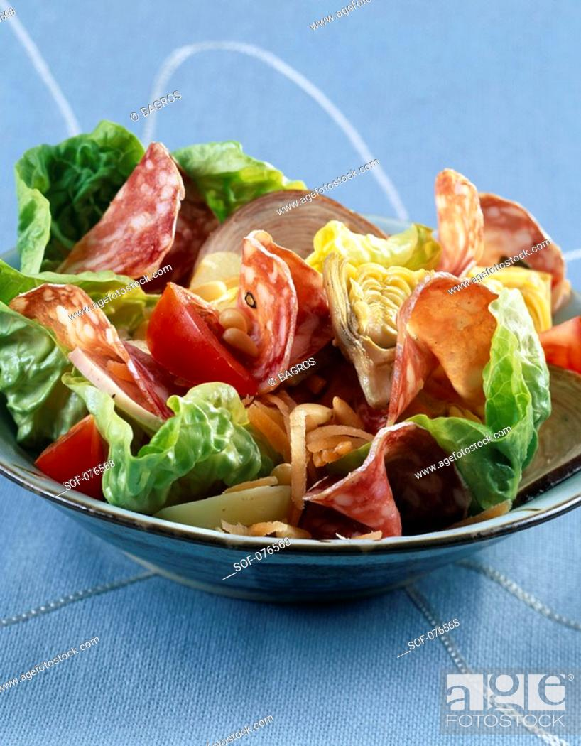 Stock Photo: cooked meats salad.