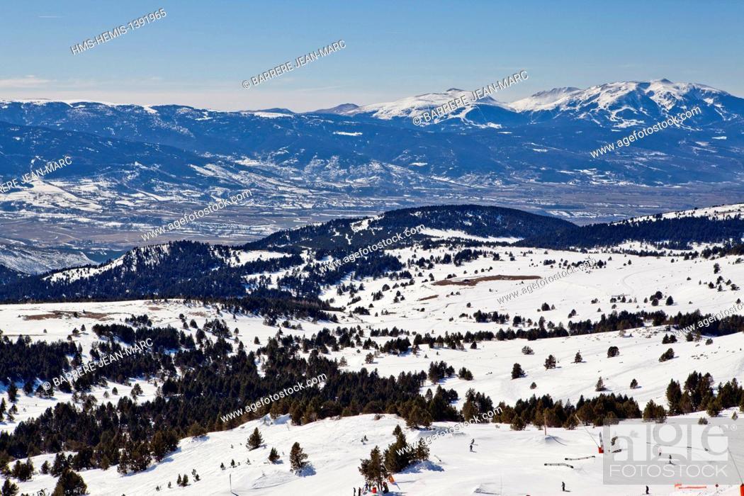 Stock Photo: France, Pyrenees Orientales, ski resort of Font Romeu Pyrenees 2000.