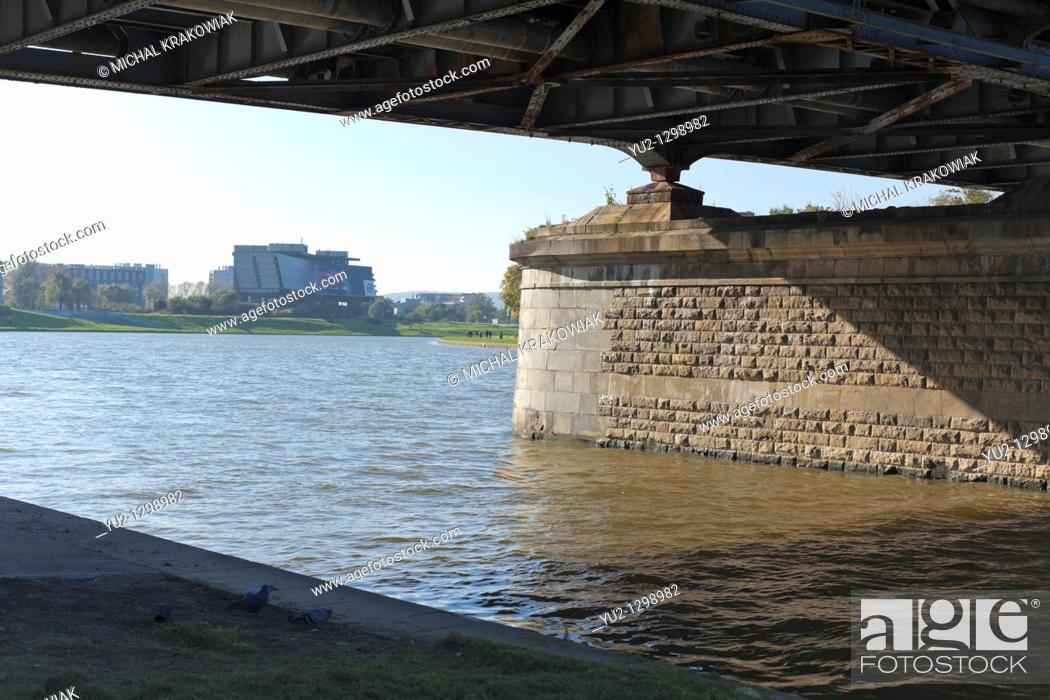 Stock Photo: Under Pilsudski Bridge in Krakow, Poland.
