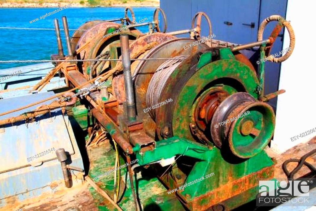 Stock Photo: capstan winch of trawlerfishing boa.