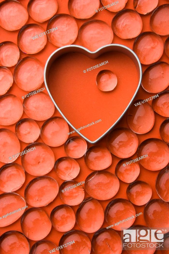 Stock Photo: Bead, Close-Up, Full Frame, Glass, Heart Shape.
