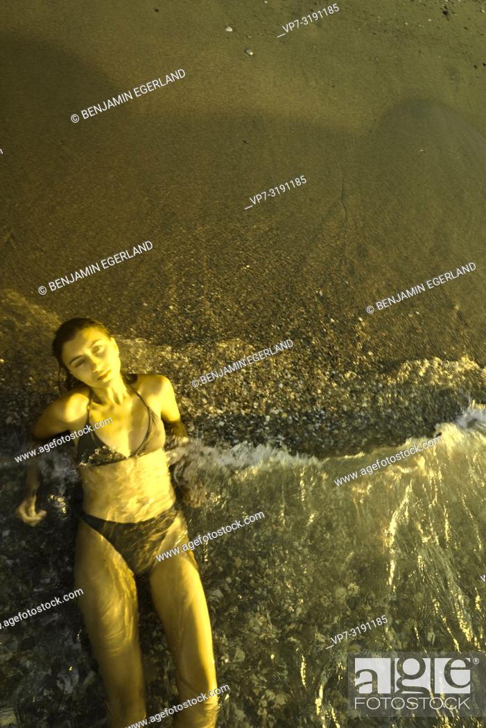 Photo de stock: woman at Potamos Beach, Crete, Greece.