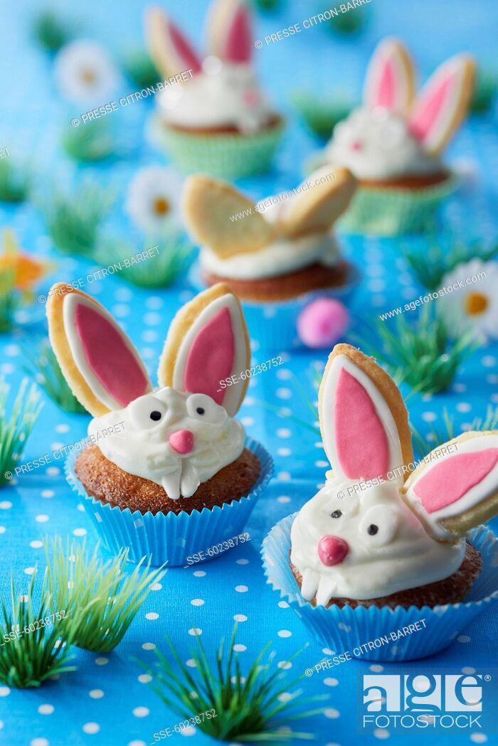 Stock Photo: People, Child, Kid, Funny, Delicate, Party, Cake, Fruit, Apple, Dish, Muffin, Pastry, Prepared, Dessert, Easter, Shape, Individual, Rabbit, Cheap, Calorific, Finger Food