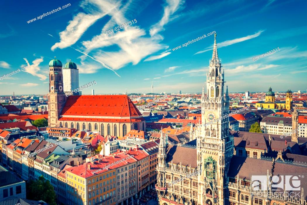 Stock Photo: Aerial view of Munchen: New Town Hall and Frauenkirche.
