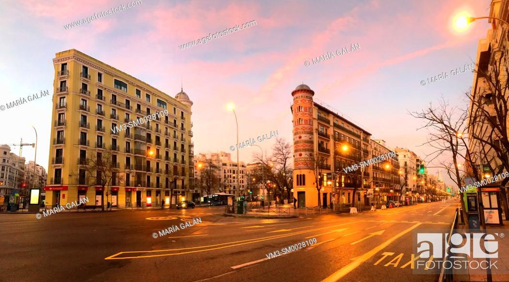Stock Photo: Goya street at dawn, panoramic view. Madrid, Spain.