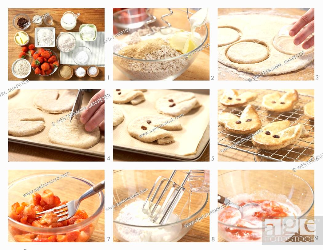 Stock Photo: Wholemeal Easter bunny biscuits with strawberry quark being made.
