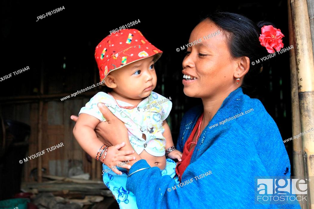 Stock Photo: An ethnic mother and child at Tindu Bandarban, Bangladesh December 2009.