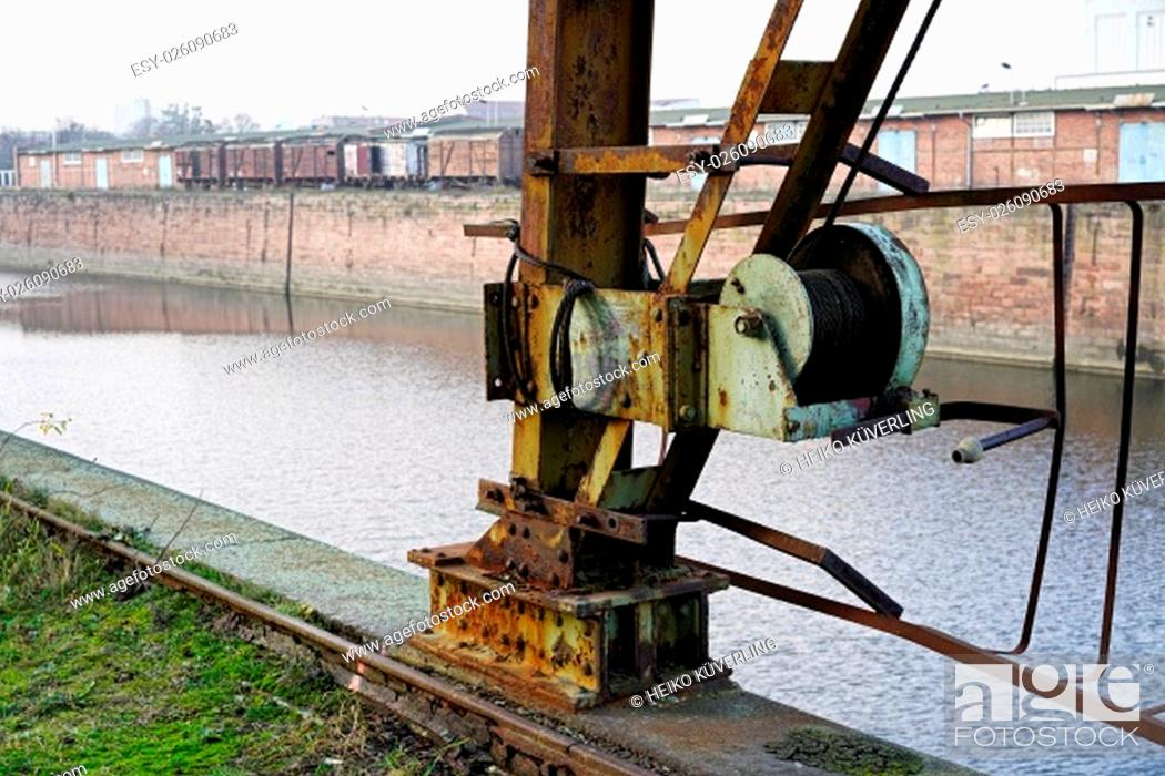Stock Photo: old technique in the port of magdeburg.
