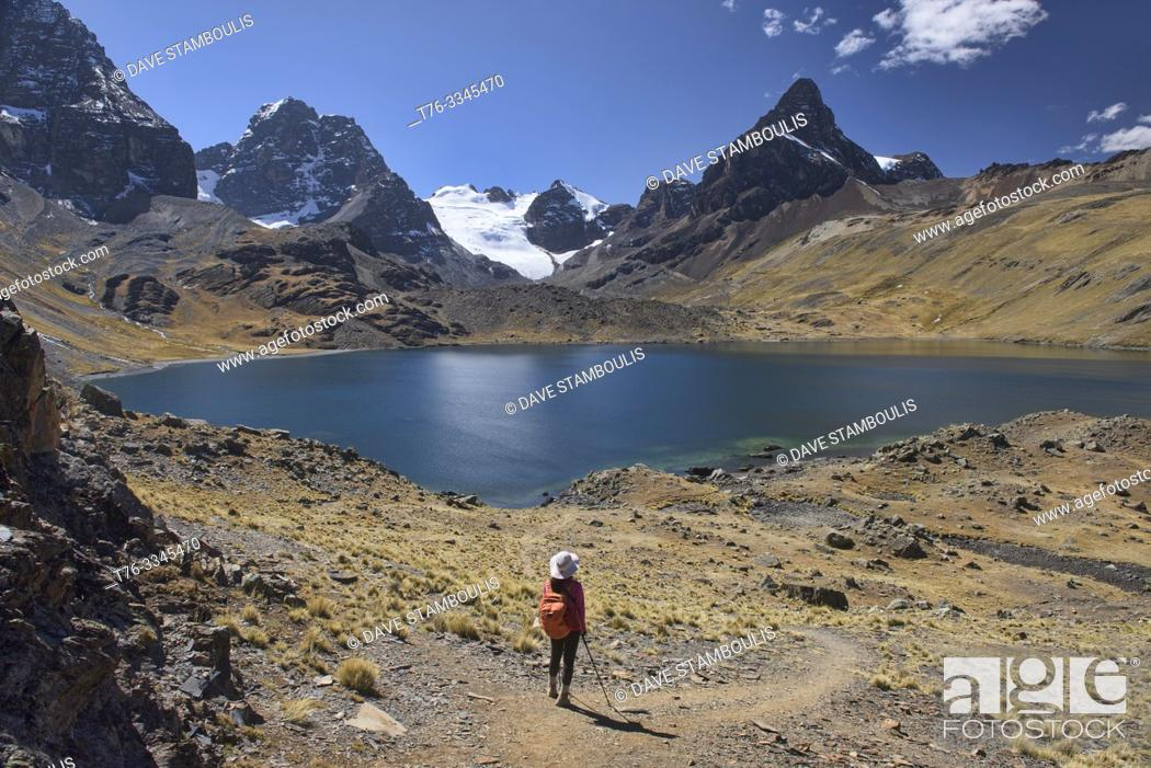 Stock Photo: Stunning alpine scenery at Chiar Khota Lake and Condoriri Basecamp along the Cordillera Real Traverse, Bolivia.