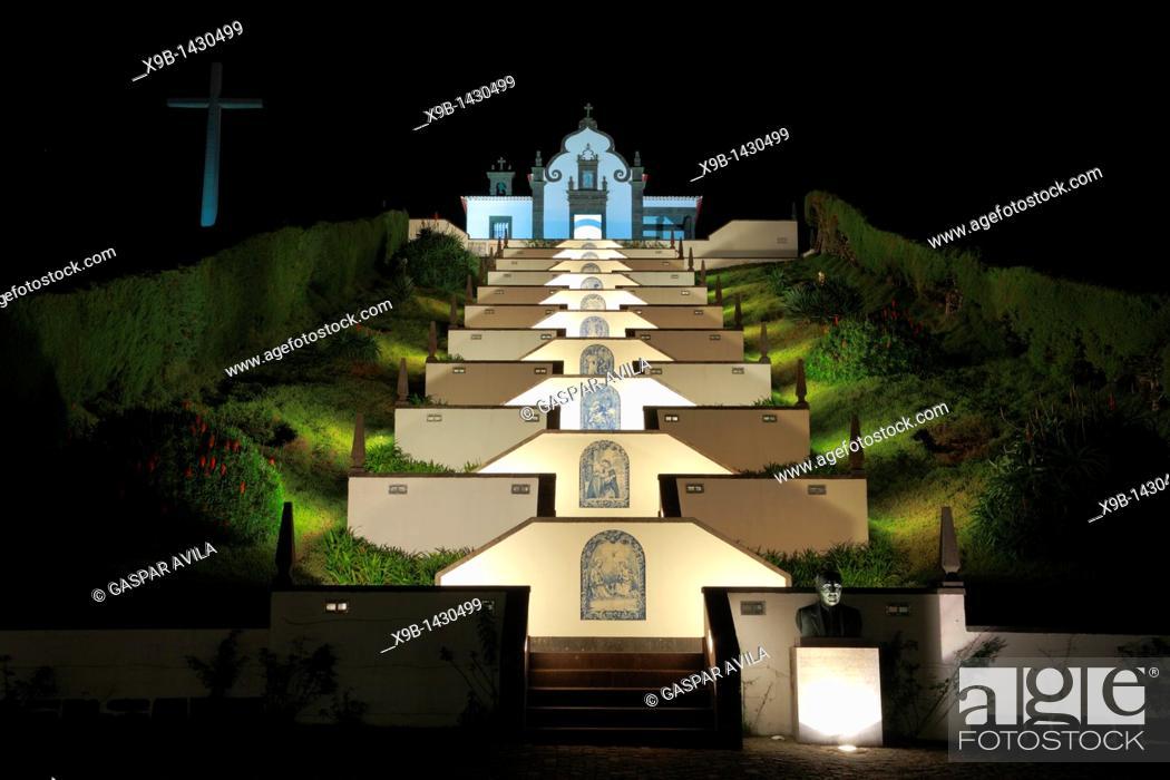 Stock Photo: Our Lady of Peace chapel Nossa Senhora da Paz at night  Vila Franca do Campo  Sao Miguel island, Azores islands, Portugal.