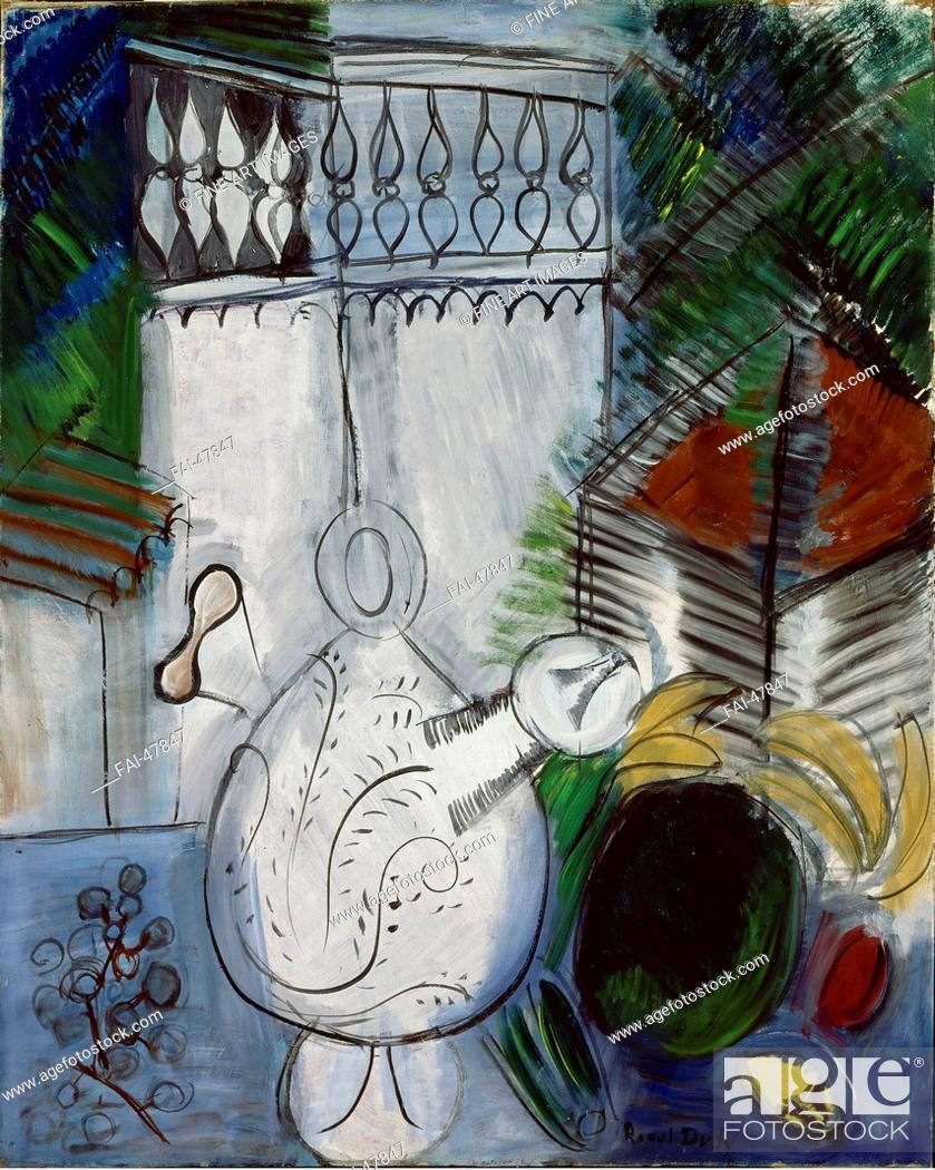 Stock Photo: Still Life with White Tower (Nature morte à la tour blanche) by Dufy, Raoul (1877-1953)/Oil on canvas/Fauvism/1913-1947/France/Musée national d'art moderne.