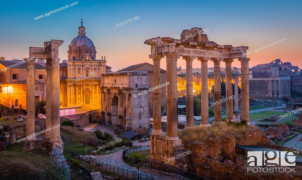 Stock Photo: The Roman Forum, also known by its original Latin designation Forum Romanum, is located between the Palatine Hill and the Capitoline Hill of the city of Rome.