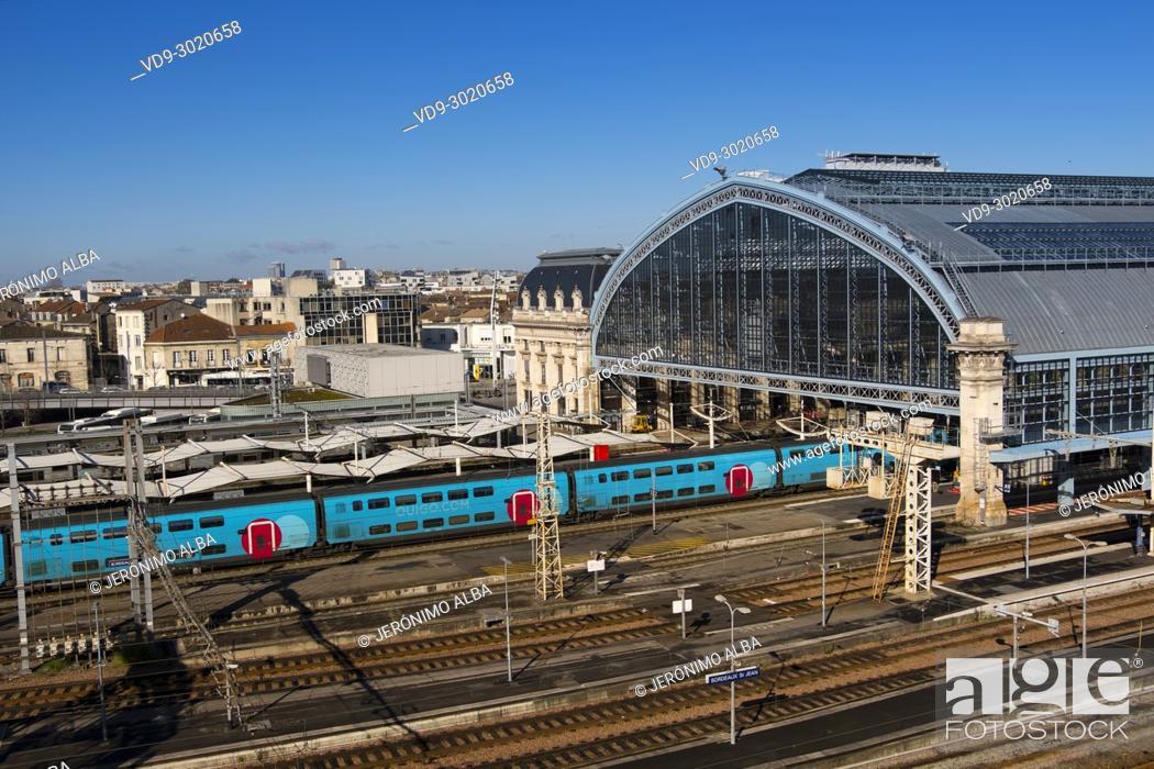 Stock Photo: Saint Jean Railway station at Bordeaux, Gironde, New Aquitaine, France.