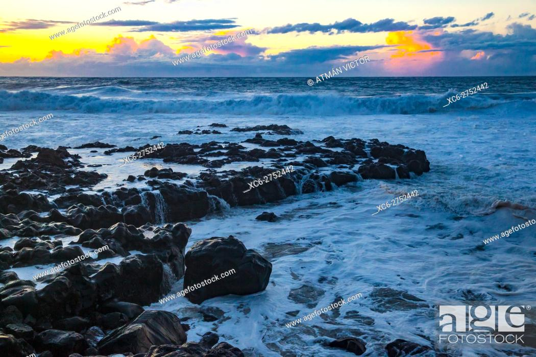 Stock Photo: sea tempest in Bajamar municipality (Tenerife island) Spain.