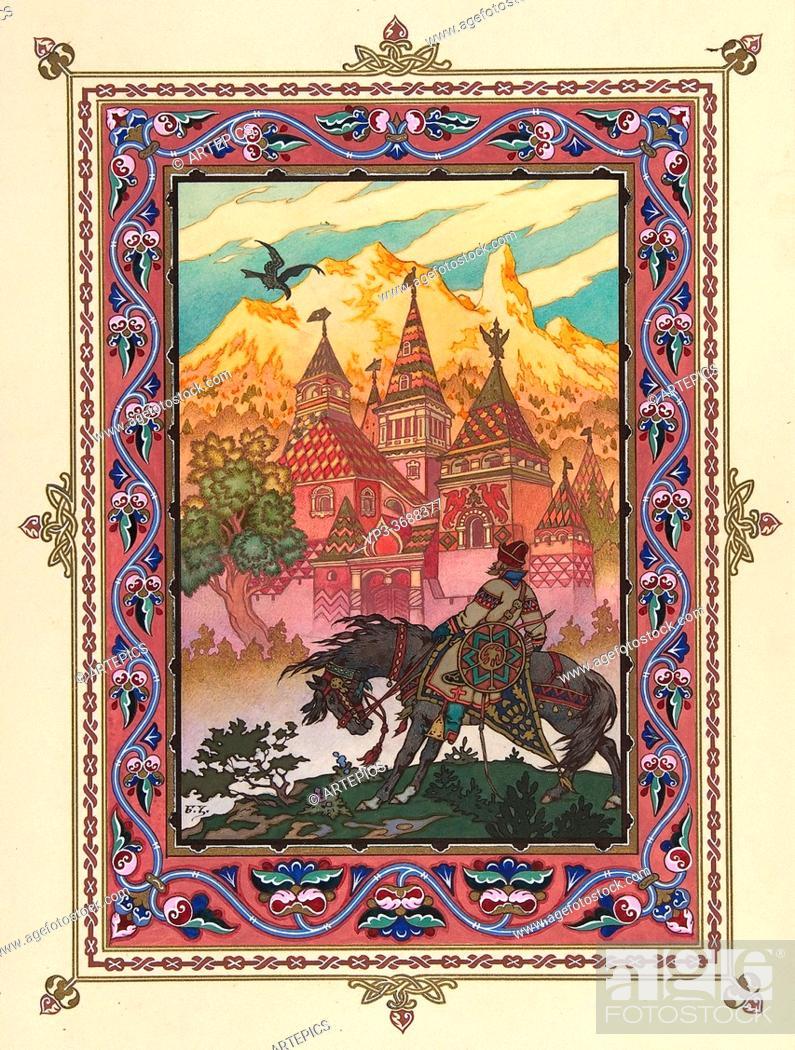 Stock Photo: Zvorykin Boris - Maria Morevna - Tsarevich Ivan at the Castle of the Falcon - Russian School - 19th and Early 20th Century.