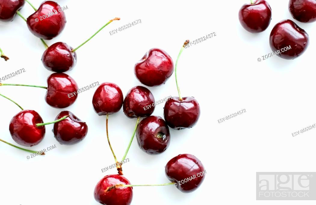 Stock Photo: Organic food, vegan dieting and health concept - Fresh sweet cherries, juicy cherry berries fruit dessert as healthy diet background.