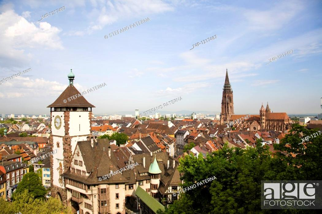 Stock Photo: Schwabentor Swabian Gate, Freiburg, Germany.