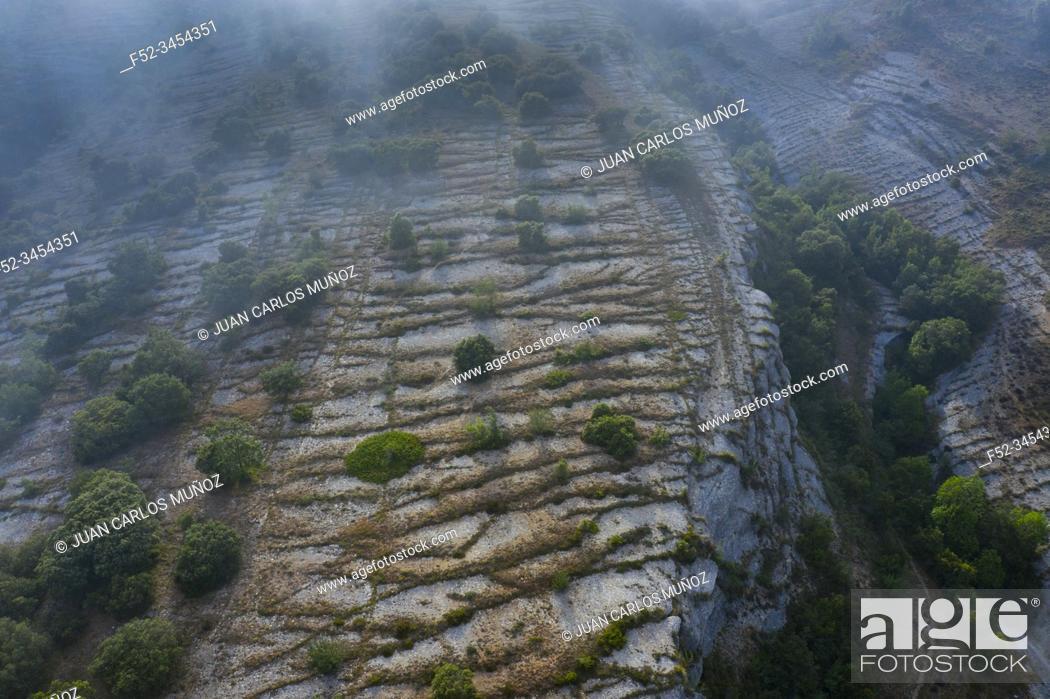 Imagen: Aerial View, Geological Landscape, Lastras de las Heras, Valle de Losa, Junta de Traslaloma, Las Merindades, Burgos, Castilla y Leon, Spain, Europe.
