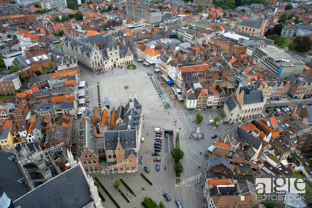 Stock Photo: Belgium - Flanders - Mechelen - View from the tower of Saint Rumbolds Cathedral on the Grote Markt.