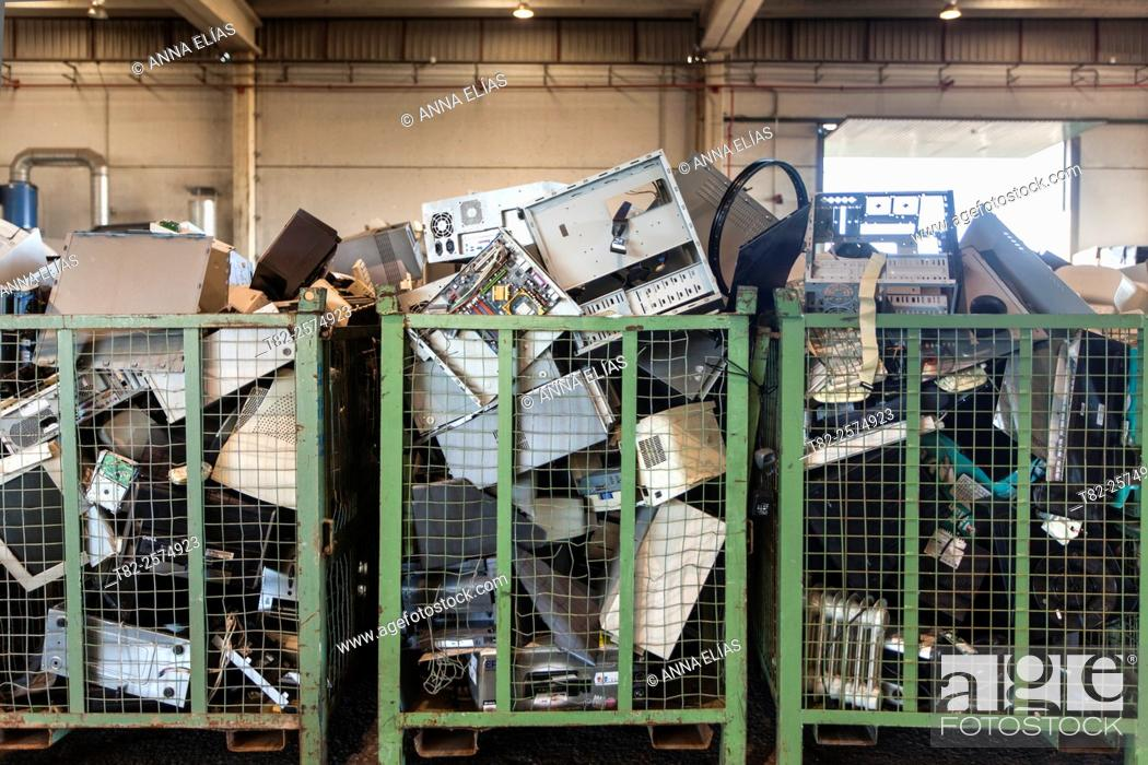 Stock Photo: full of appliances and computer equipment for recycling damaged warehouse.